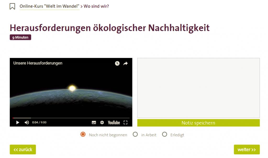 Screenshot Onlinekurs Welt im Wandel