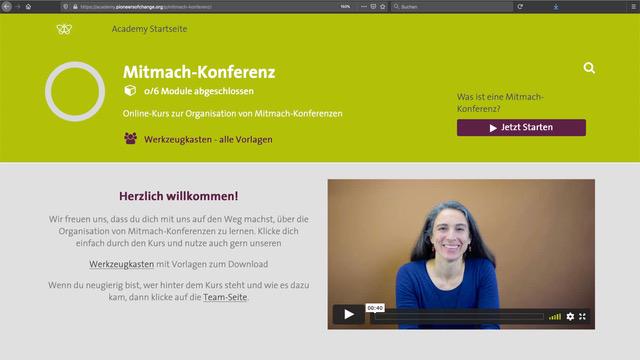 Onlinekurs zur Organisation von Mitmach-Konferenzen